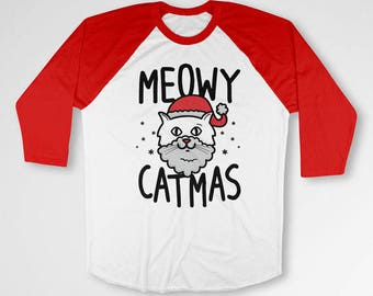 Cat Gift Ideas For Women Christmas T Shirt Kitty Clothing Xmas Outfit Holiday Present For Her Cat TShirt X-Mas Raglan Sleeves TEP-522