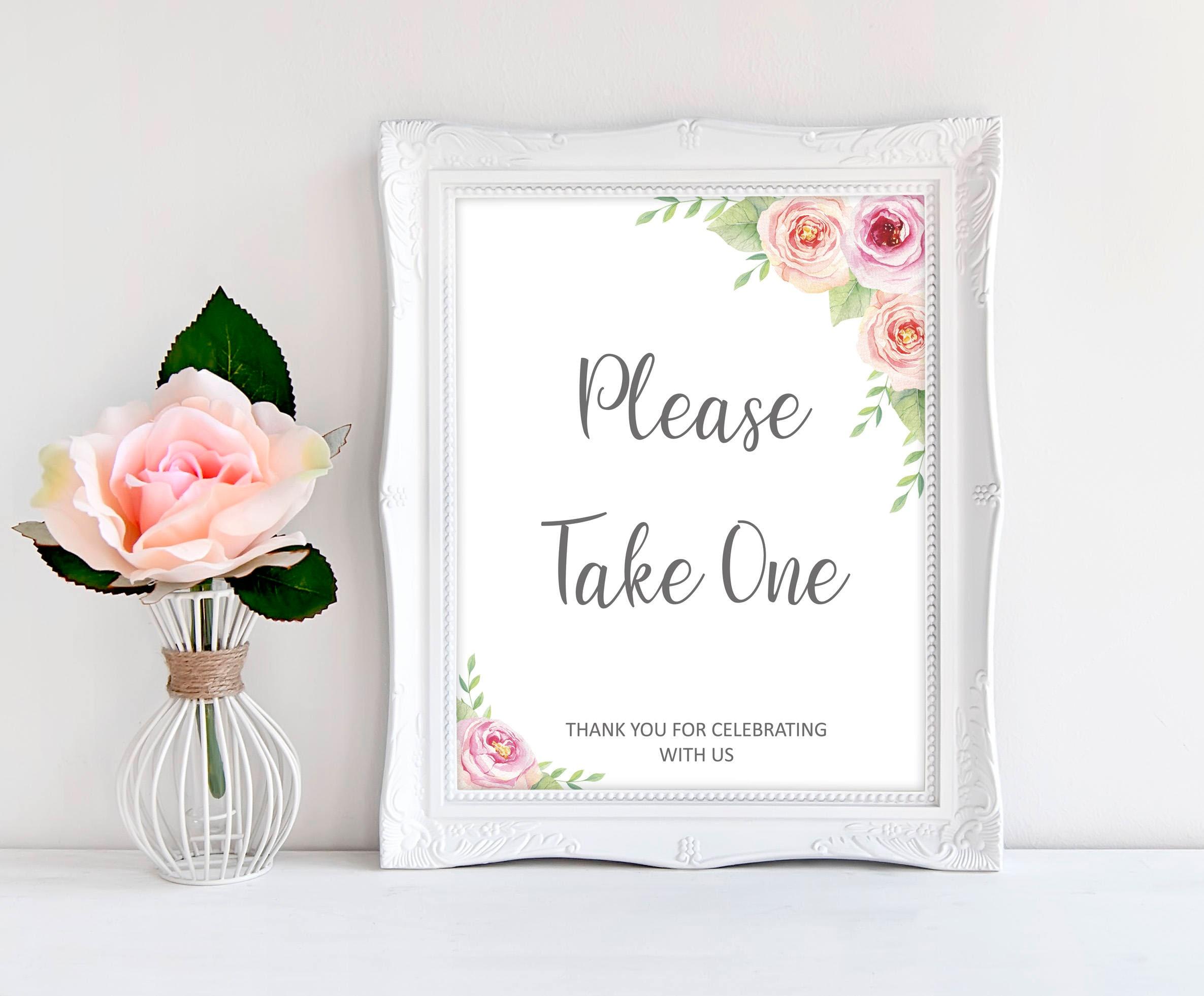 Floral favours sign wedding printables, pink favors sign, please ...