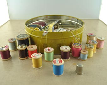 Vintage Tin Full of Sewing Supplies - Wood Spools