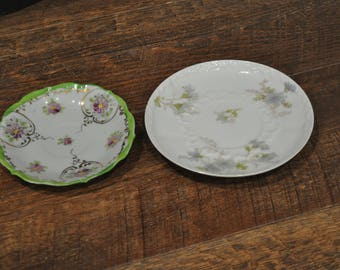 Pair of Vintage Saucers - CFH GDM France CH. Field Haviland Limoges - Unmarked