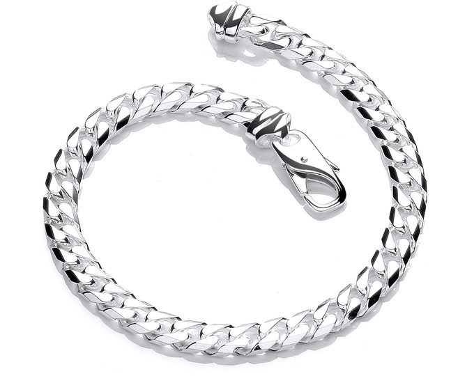 "Gents Solid 925 Sterling Silver 8"" Chunky Curb Chain Bracelet Hallmarked"