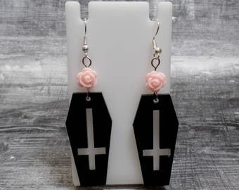 Pastel Pink Rose Coffin Earrings - Coffin Cross Earrings - Inverted Cross Earrings - Upside Down Cross Coffin - Free US Shipping