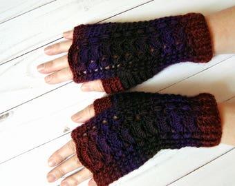 Crochet fingerless mittens Lace women fingerless gloves Womens mittens burgundy purple black Fall autumn colorful handmade ladies mittens