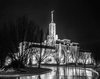 Mount Timpanogos Temple Black and White with Reflection Digital Download