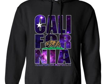 California Republic Cali Bear Galaxy Color Clothing Adult Unisex Hoodie Hooded Sweatshirt Best Seller Designed Hoodies for Women and Men
