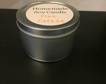 Choose your scent! Homemade Hand Poured 8oz Soy Wax Candle PINA COLADA scent