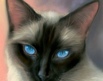 Siamese Cat Original Pastel Painting
