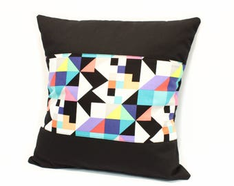 Modern cushion, Black geometric shapes cushion, geometric print cushion, modern black cushion, abstract print cushion, hipster cushion, UK