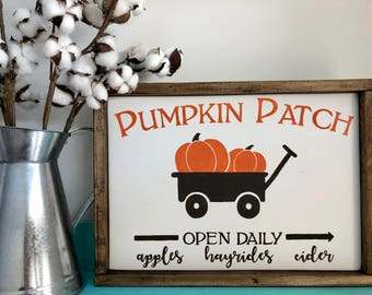 Pumpkin Patch Sign, Wood Sign, Painted Sign, Framed Sign, Farmhouse Sign, Rustic Sign, Pumpkin Sign, Fall Sign, Home Decor, Holiday Sign