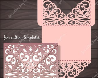 Wedding Invitation Pocket Envelope template for cutting, laser cut Digital Instant Download, Cricut Cameo (svg, dxf, eps10, studio3)