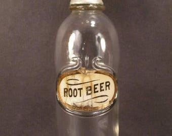 1800's Label Under Glass Root Beer Apothecary Bottle Pharmacy Drug Store Soda Jar