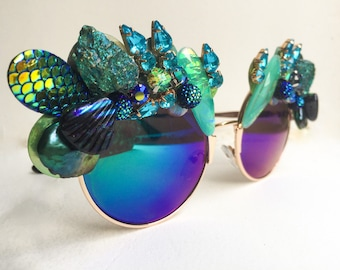 Metallic Mermaid Sunglasses - Iridescent Rhinestone Sunglasses - Metallic Mirrored Sunglasses - Festival Sunglasses - Metallic Eyewear