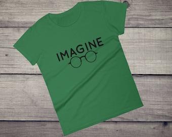 Imagine T-Shirt, round glasses, John Lennon glasses, 80s, 70s, 60s, hippie beatles peace tee Women's short sleeve t-shirt, Imagine peace