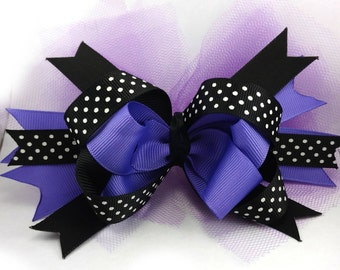 "6"" Purple and Black Stacked Halloween Bow, Boutique Bow with Tulle, Halloween Bow, Girl's Hair Bow, Polka Dot Ribbon Bow, Halloween Hair Bow"