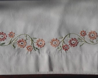 Marigold pillowcase set/standard size pair/hand embroidered/cotton poly blend/easy care machine wash & dry/wedding, shower, pamper yourself
