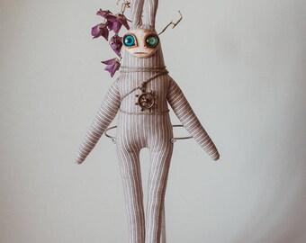 Unusual Toy Fantasy Creature Odd Doll Strange Toy handmade ooak polymer clay rabbit