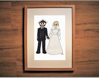 Wedding Couple Illustrated Portrait  - Custom Portrait - Personal Portrait - Cartoon Portrait