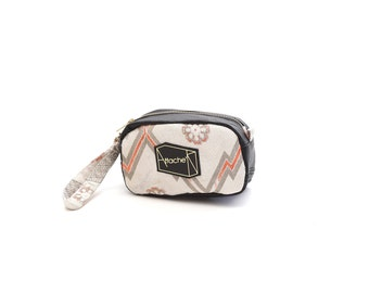 White x orange x silver Recycled Kimono obi cuboid pouch