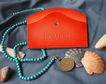 Line2 Orange | Leather cardholder with Swarovski crystals for woman Card case Card holder Bag accessory