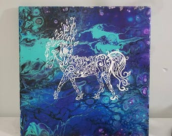 Magical Horse Original Hand Painting and Acrylic Pour on 12x12 Canvas ,Home Decor, Gift Ideas Blue