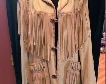 cream fringe Scully leather jacket