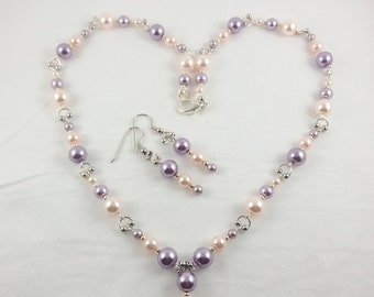 Pink and Purple Pearl Necklace Set, Pearl Necklace and Earrings, Elegant Pearl Necklace, Bridal Jewelry Set, Gift for Sweet 16, Prom Jewelry