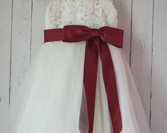 Ivory Lace tulle Flower Girl Dress with satin burgundysash