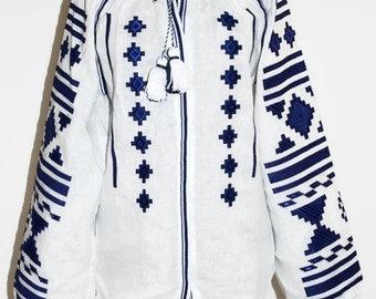 Boho Blouse Ukrainian Embroidery Cobalt Blue Ukraine Shirt Vyshyvanka Bohemian Clothes Mexican Vishivanka Ethnic Folk Embroidered Blouses