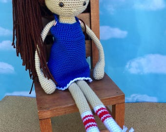 Crocheted doll, stuffed dill, doll plushie