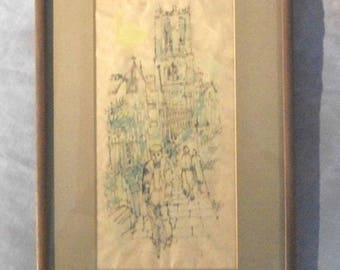 MAGDALEN TOWER - Framed 1958 Signed ORIGINAL line watercolor wash on rice paper, by the late Artist Alice Wadowski-Bak