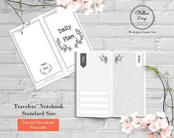 Standard Travels Notebook Insert, Day on 2 Pages, Dot Notebook and Grid Notebook, Daily Planner Notebook, Floral Planner, Standard Inserts