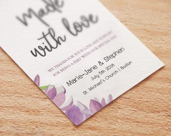 Violet Floral Personalized Wedding Favors Tags Printable, Wedding favors Tags Template, Watercolor gift tags, Editable Wedding favor Tag