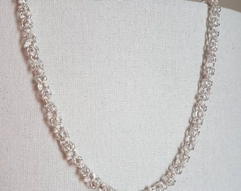 Byzantine Chain Necklace with Pink Beads