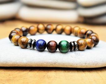mens beaded bracelet tigers eye bracelet red blue green tigers eye jewelry for men protection bracelet mens gift for men gift for boyfriend