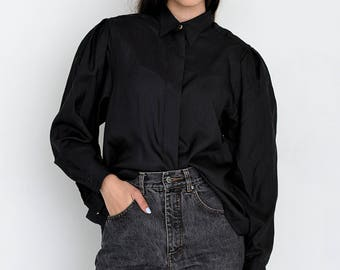VINTAGE Black Long Sleeve Retro Shirt Blouse 2017