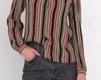 VINTAGE Colourful Striped Long Sleeve Retro Shirt