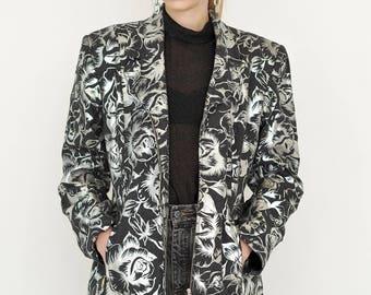VINTAGE Grey Floral Retro JASMIN M. STYLE Jacket