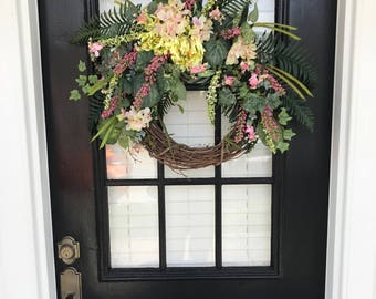 Grapevine Floral Wreath, Front Door or Interior Wreath,