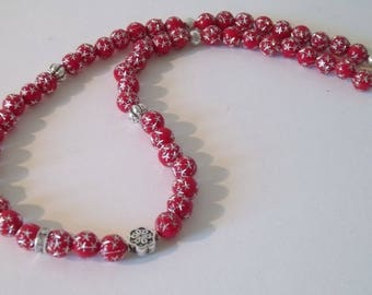 Red & Silver Star beaded Necklace