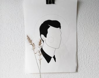 A N O N Y M O U S - print illustration/ wall art/ tattoo template