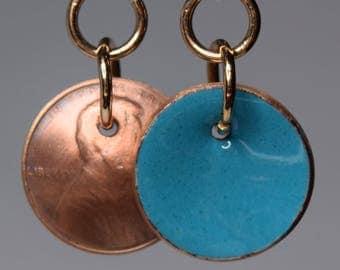 Enameled Penny Earrings-Saphire