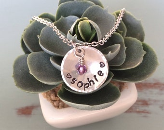 Child's Hand Stamped Name Necklace