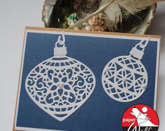 Blue and White Lacy Christmas Art Card