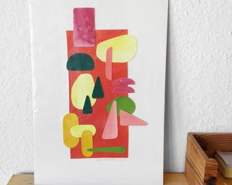 Botanical Paper Collage Series Handmade Original Artwork Handcut Illustration
