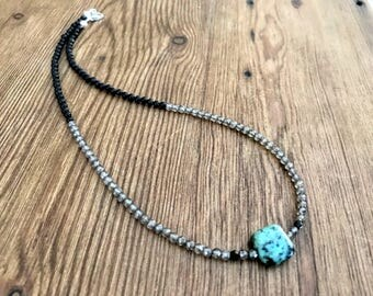Beaded Gemstone Necklace, Quartz Crystal Necklace, Turquoise Necklace, Crystal Jewelry, Layering Chokers For Women, Boho Jewelry, For Her