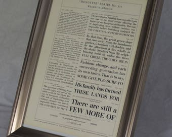 "Letterpress-printed ""Walbaum Medium"" Framed Type Sample"