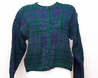 Hand Knitted plaid cotton blend cardigan.  Cie International