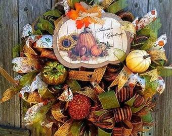 Fall Wreath, Autumn Wreath,Best Door, Door Decor, Fall Deco Mesh Wreath, Fall Decor, Fall Door Decoration, Fall Mesh Wreath, Fall front door