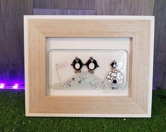 Handmade fused glass Medium Framed Art: Penguins & Igloo