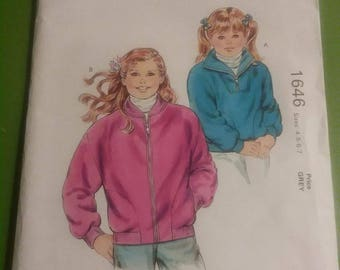 Kwik Sew Pattern #1646 Kids Jacket SIze 4,5,6,7